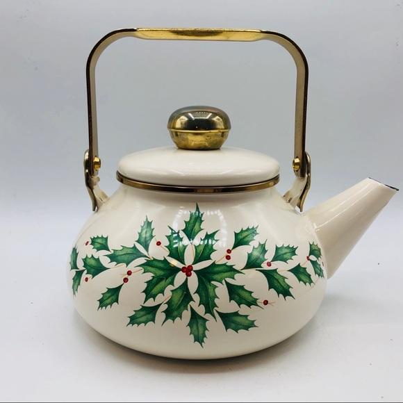 Lenox Holiday Pattern Tea Kettle Enameled Metal